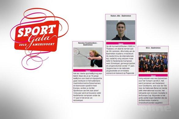 Amersfoort, Kwakkenbos en Jille genomineerd voor sportploeg, -vrouw en -man van 2013 in Amersfoort - badmintonline / Sportgala Amersfoort