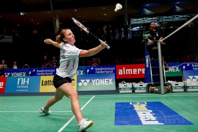 Deze afbeelding hoort bij 'Eefje Muskens uit Goirle bereikt kwartfinale EK badminton' en is gemaakt door Alex van Zaanen