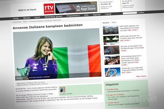 Deze afbeelding hoort bij 'Annense Italiaans kampioen badminton' en is gemaakt door RTV Drenthe