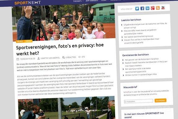 SPORTNEXT: 'Sportverenigingen, foto's en privacy: hoe werkt het?' - SPORTNEXT