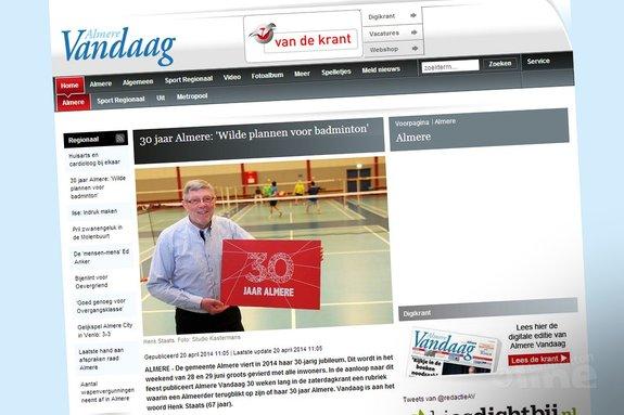 Deze afbeelding hoort bij '30 jaar Almere: 'Wilde plannen voor badminton'' en is gemaakt door Almere Vandaag