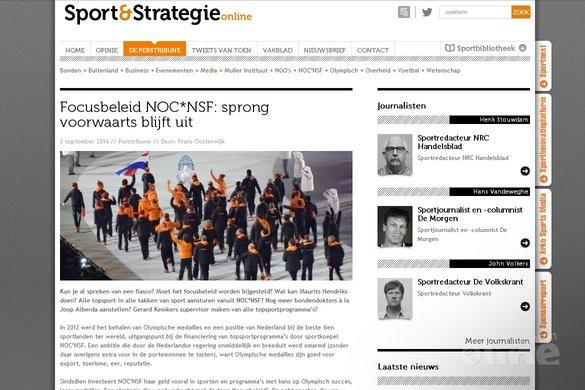 Focusbeleid NOC*NSF: sprong voorwaarts blijft uit - Sport & Strategie