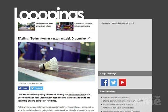 Efteling: 'Badmintonner verzon muziek Droomvlucht' - Looopings