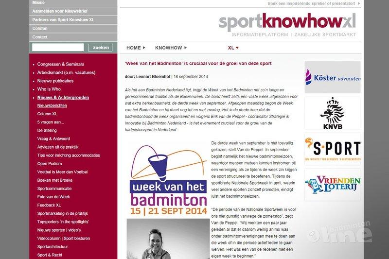 'Week van het Badminton' is cruciaal voor de groei van deze sport - Sport KnowHow XL