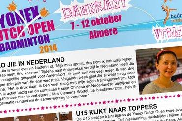 Dagkrant vrijdag 10 oktober 2014 - Yonex Dutch Open