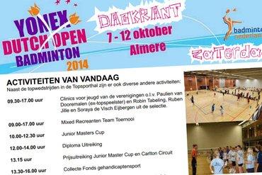 Dagkrant zaterdag 11 oktober 2014 - Yonex Dutch Open