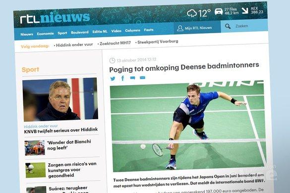 Poging tot omkoping Deense badmintonners - RTL Nieuws