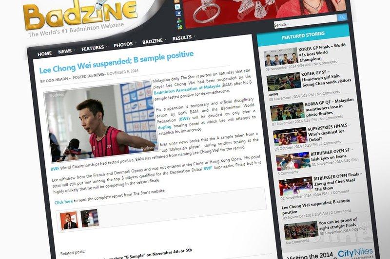 Lee Chong Wei suspended; B sample positive - Badzine
