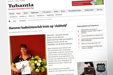 Hammer badmintonclub trots op 'clubheld' Renske Kelder