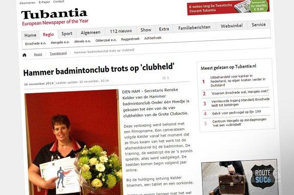 Hammer badmintonclub trots op 'clubheld' Renske Kelder - Tubantia