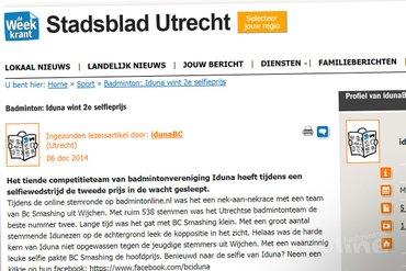 Stadsblad Utrecht: Iduna wint 2e selfieprijs