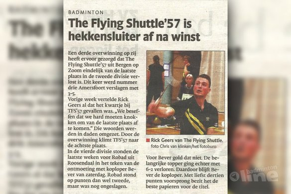 The Flying Shuttle '57 is hekkensluiter af na overwinning in Carlton Eerste Divisie - BN/DeStem