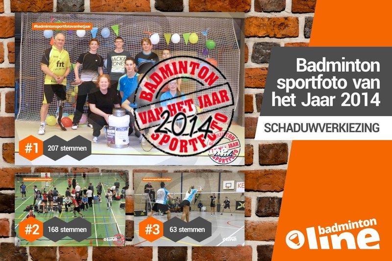 Groepsfoto met Eddy Boerman Badmintonsportfoto van het Jaar 2014 bij badmintonline - badmintonline.nl