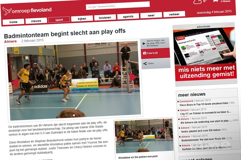 BV Almere begint slecht aan de play-offs