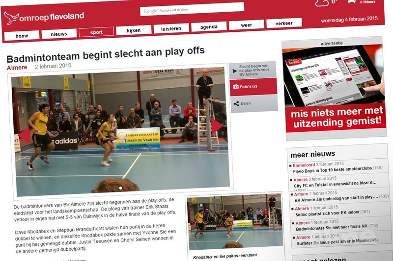BV Almere begint slecht aan de play-offs - Omroep Flevoland