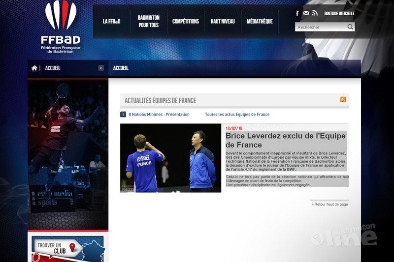 Brice Leverdez uitgesloten van nationale ploeg Frankrijk tijdens EK in Leuven - FFBAD