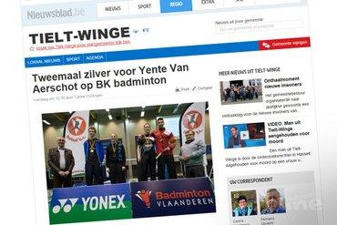Tweemaal zilver voor Yente Van Aerschot op BK badminton