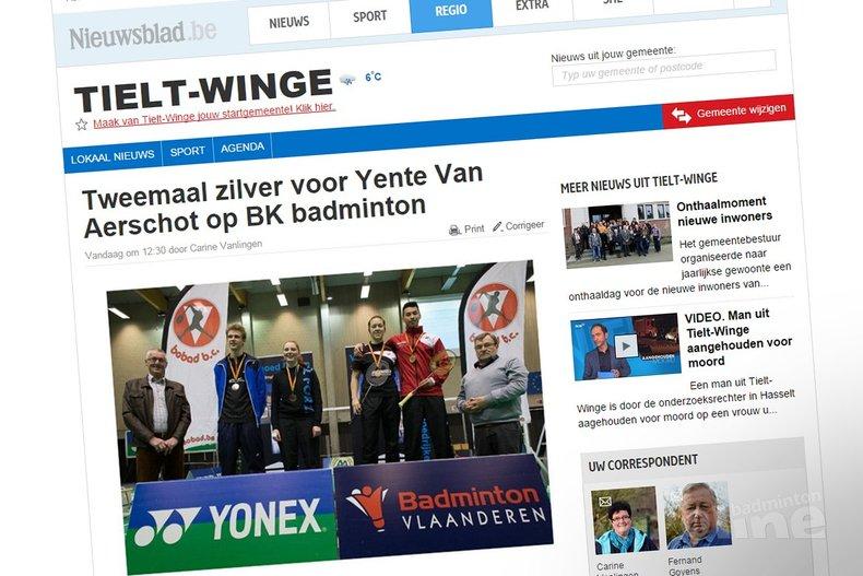 Deze afbeelding hoort bij 'Tweemaal zilver voor Yente Van Aerschot op BK badminton' en is gemaakt door Nieuwsblad.be