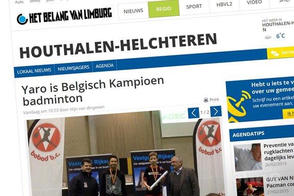 Yaro is Belgisch Kampioen badminton - Het belang van Limburg