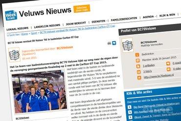 BC'70 Veluwe verslaat BV Huizen '96 In badminton Carlton GT Cup