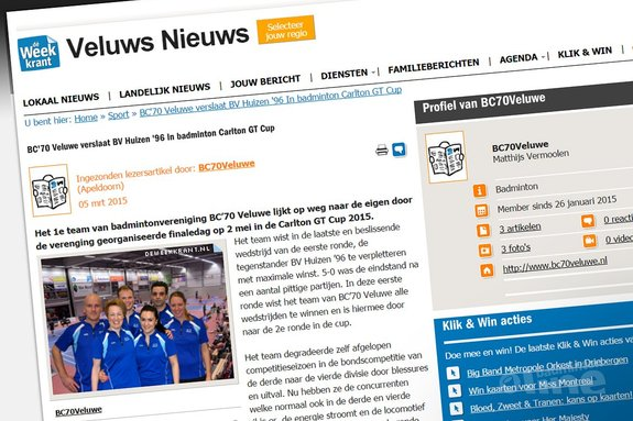 Deze afbeelding hoort bij 'BC'70 Veluwe verslaat BV Huizen '96 In badminton Carlton GT Cup' en is gemaakt door Veluws Nieuws