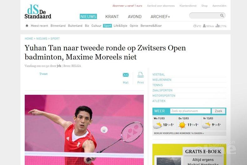 Deze afbeelding hoort bij 'Yuhan Tan naar tweede ronde op Zwitsers Open badminton, Maxime Moreels niet' en is gemaakt door De Standaard