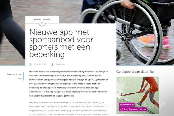 Nieuwe app met sportaanbod voor sporters met een beperking - sport.nl