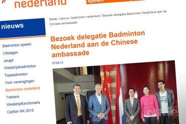 Bezoek delegatie Badminton Nederland aan de Chinese ambassade