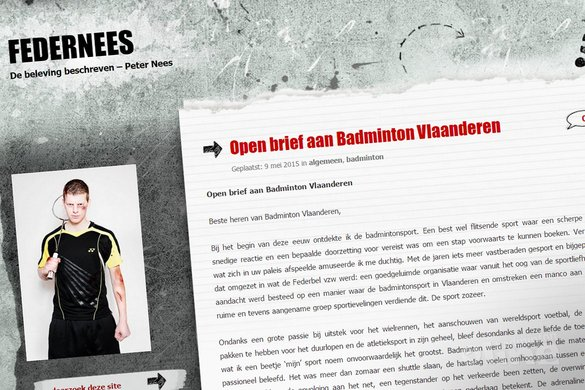 Open brief aan Badminton Vlaanderen - Peter Nees