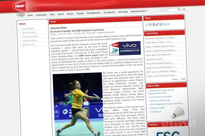 Soraya de Visch Eijbergen speelt zich in de kijker van BWF tijdens Sudirman Cup - BWF