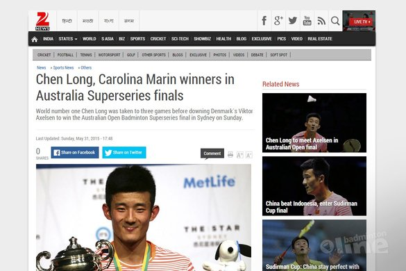 Chen Long, Carolina Marin winners in Australia Superseries finals - Zeenews