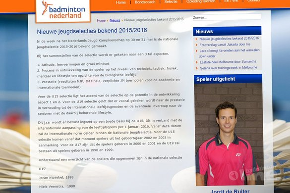 Paul Kleijn: Neem nou de publicatie van de Nationale Jeugdselectie - Badminton Nederland