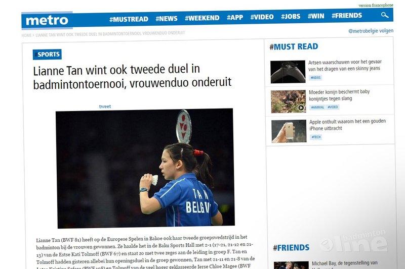 Lianne Tan wint ook tweede duel in badmintontoernooi, vrouwenduo onderuit - Metro