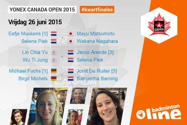Drie kwartfinales voor Nederlanders bij Yonex Canada Open 2015