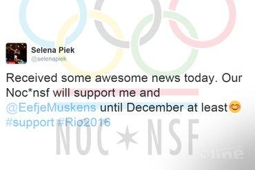 NOC*NSF verlengt financiële steun aan Selena Piek en Eefje Muskens