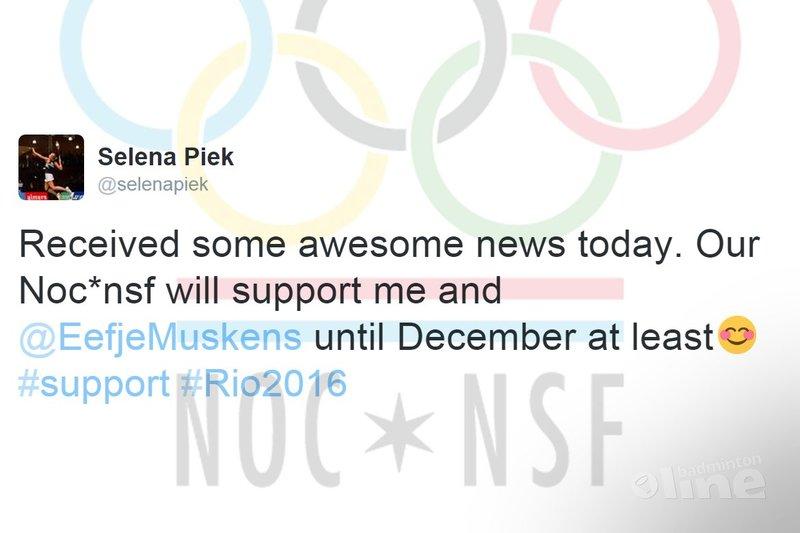 NOC*NSF verlengt financiële steun aan Selena Piek en Eefje Muskens - Selena Piek