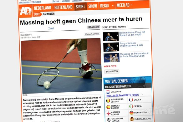 Rune Massing hoeft geen Chinees meer te huren - AD.nl