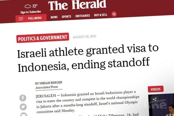 Israeli athlete Misha Zilberman granted visa to Indonesia, ending standoff - Herald Online