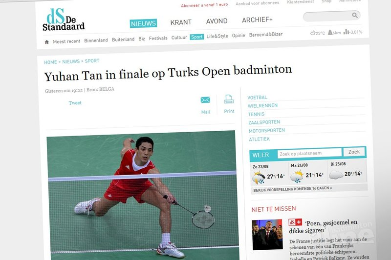 Yuhan Tan in finale op Turks Open badminton - De Standaard