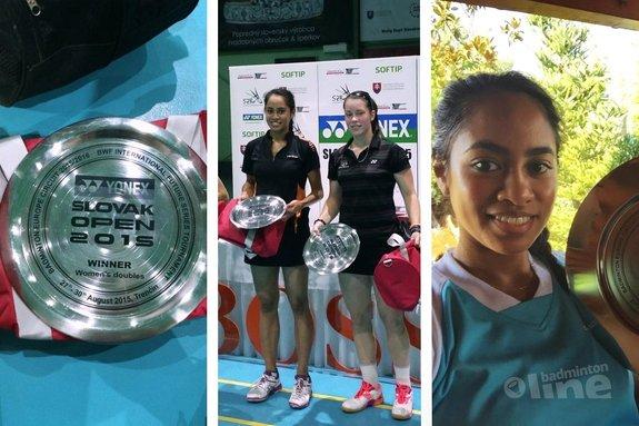 Cheryl Seinen en Gayle Mahulette winnaars damesdubbel Slovak Open 2015  - Cheryl Seinen / Gayle Mahulette / badmintonline.nl