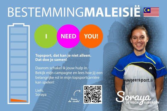 Topbadmintonner Soraya de Visch Eijbergen zet in op crowdfunding - Soraya de Visch Eijbergen