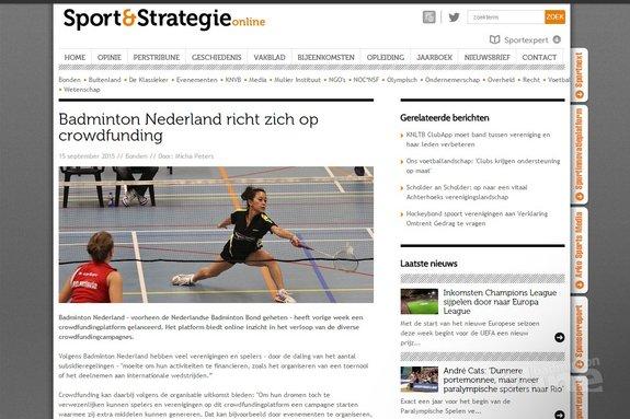 Badminton Nederland richt zich op crowdfunding - Sport & Strategie