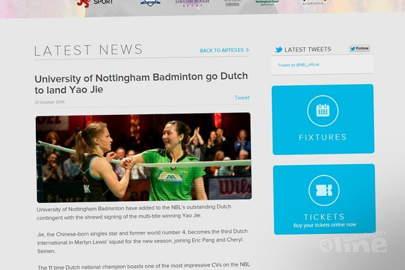 University of Nottingham Badminton go Dutch to land Yao Jie - National Badminton League