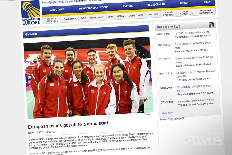 European teams got off to a good start - Badminton Europe