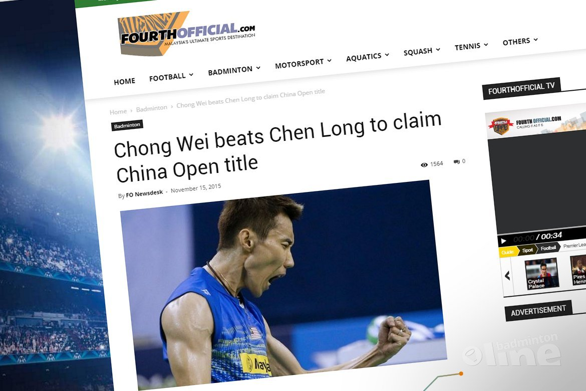 Lee Chong Wei beats Chen Long to claim China Open title
