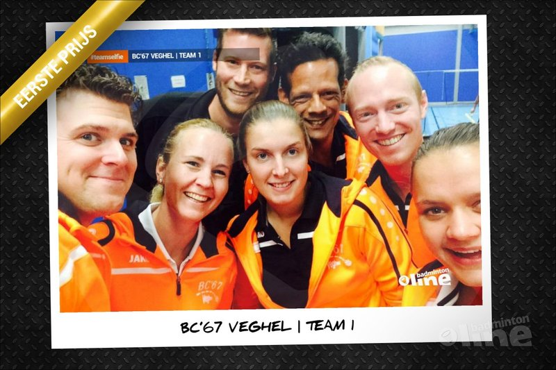 Eerste team BC'67 Veghel winnaar badmintonline.nl #teamselfie actie 2015! - badmintonline.nl