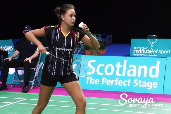 Dutch international Soraya de Visch Eijbergen tumbles at the hand of Anna Thea Madsen - Badminton Europe