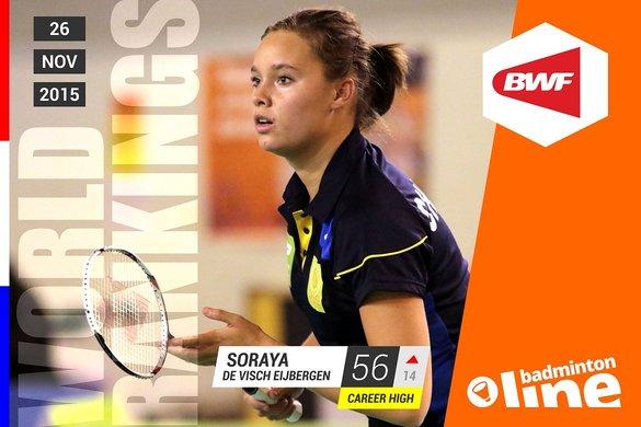 Wereldranglijst van donderdag 26 november 2015: De Visch Eijbergen stapt top 60 binnen - Eric Cremois / badmintonline.nl
