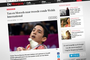Yuhan Tan en Maxime Moreels naar tweede ronde Welsh International