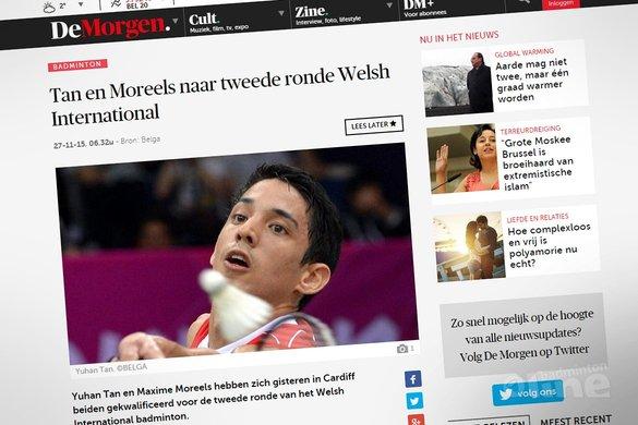 Yuhan Tan en Maxime Moreels naar tweede ronde Welsh International - DeMorgen